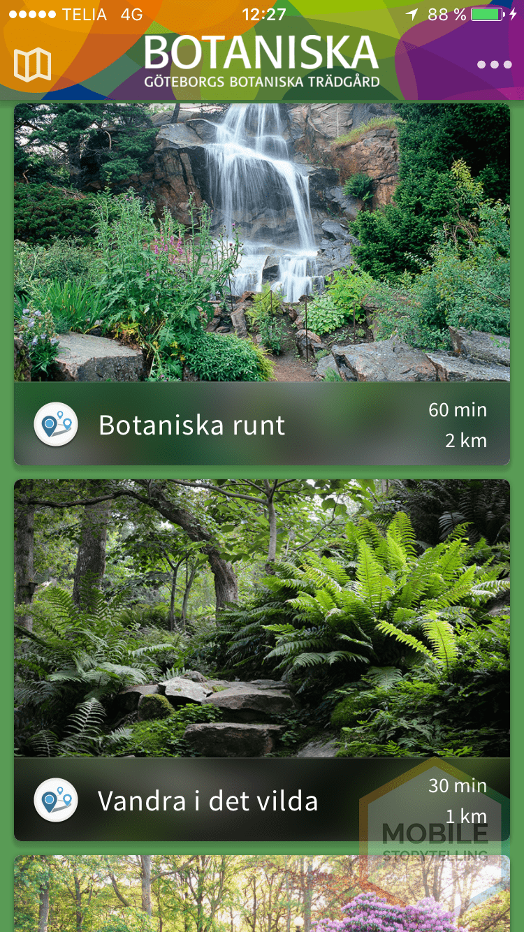 Screenshot from Göteborgs Botaniska app next to a case about it