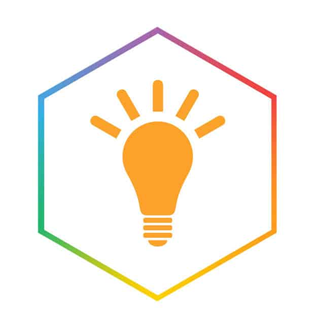 lightbulb icon in hexagon to illustrate ideas