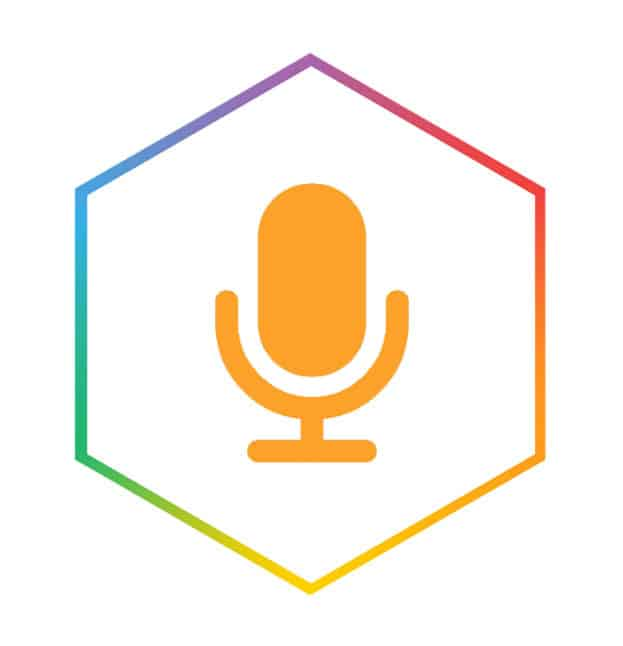audio icon in hexagon as a header for audio recording service