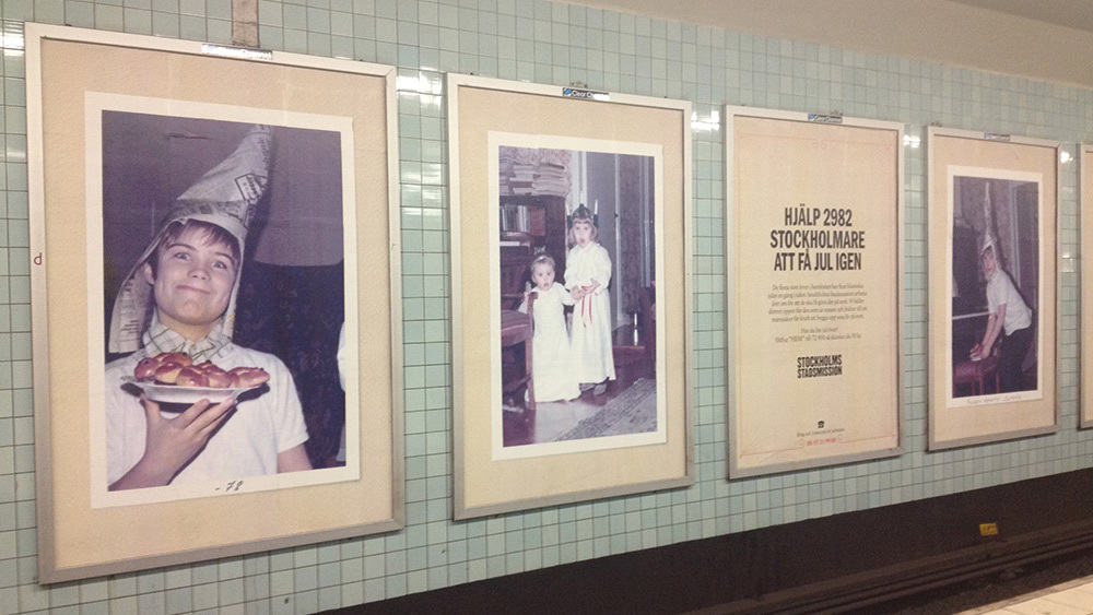 photo of posters in the subway related to campaign described in text