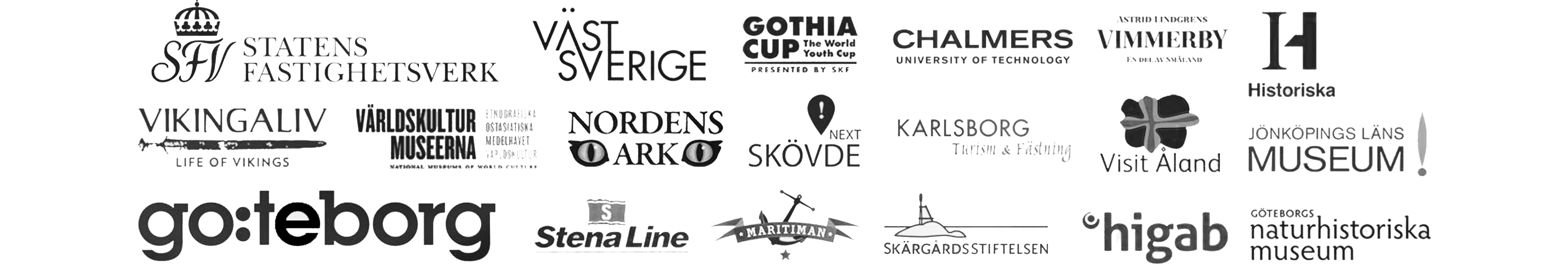 A selection of clients logos to introduce the company