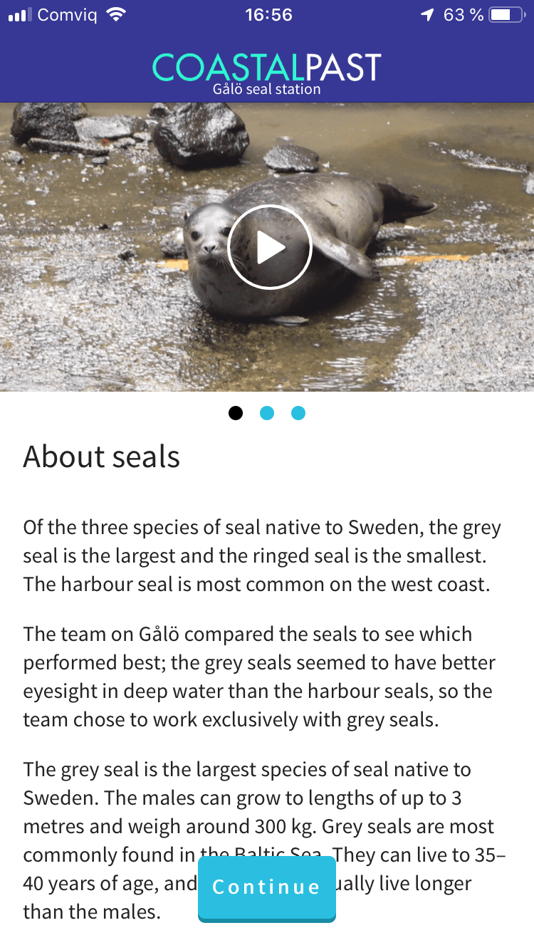 app with photo of a seal and text