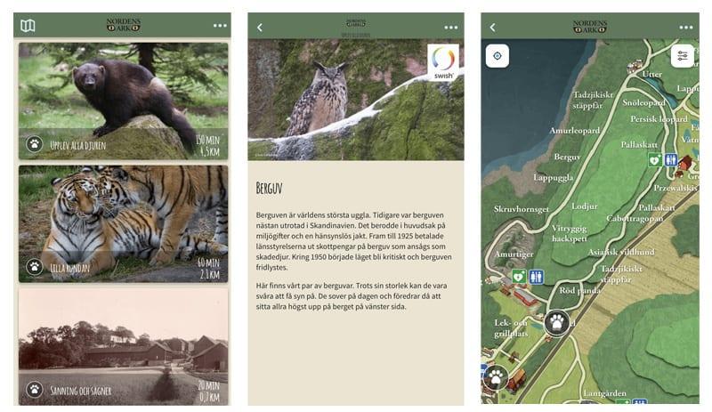 Exempelbilder från Nordens Arks app