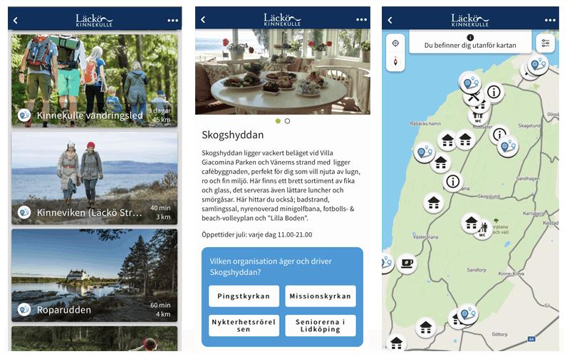 Skärmbilder av appen Läck-Kinnekulle som visar vandringar, quiz och karta.