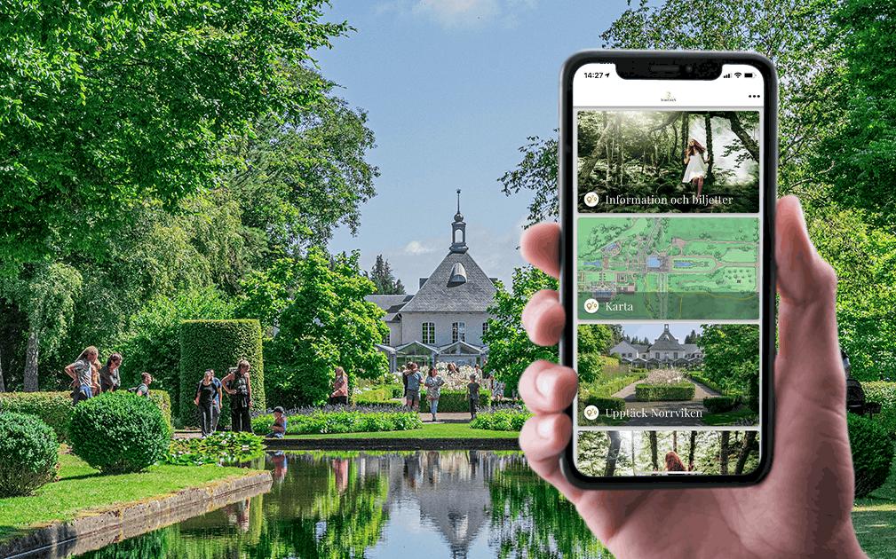En hand håller upp en iphone med Norrvikens app framför Norrvikens grönskande trädgård.